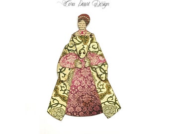 Limited Edition Articulated Tudor Art Doll - Catherine of Aragon - Paper Doll - Articulated Doll - Art Doll - Portrait of a Queen