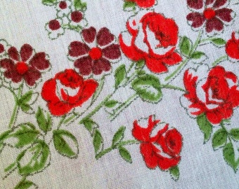 Scandinavian vintage valance. Floral print Swedish retro fabric cotton fabric mod print 50s fabric mid century modern home decor