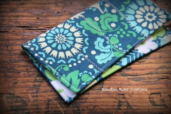 Fabric Cheque Book Cover : Fabric checkbook cover blue green teal light yellow
