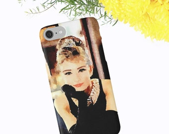Audrey Hepburn, Breakfast at Tiffany's Watercolor Phone Case, iPhone 6 7 Plus, Samsung Galaxy Case Plus Edge, Bridesmaid Gifts, Phone Wallet