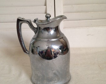 VINTAGE Stainless Stanley Thermos Universal Landers Frary Clark  Mercury Glass Top  Chic Cottage Shabby  Metal