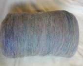 Handcrafted - 100% Natural Light  Silver Grey Alpaca Fiber Blended with Hand Painted Soy Silk - Carded Batt - 2.0 Oz.
