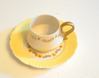 Yellow and Gold Vintage Tea Cup and Saucer - Rose Crown China