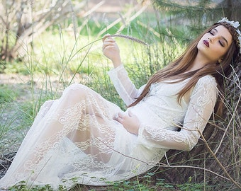 Wedding Bohemian Lace Dress- Bridal-photoprop-Willow
