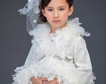Feather jacket-linen bolero-capelete-photoprop-