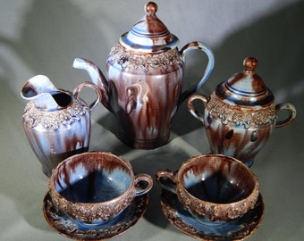 Outstanding Vintage Mexican Chocolate Set, Handmade in Mexico - Circa 1950s - 9 Pieces