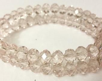 Beaded Light Pink Crystal Stretch Bracelet