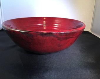 Raku Red Bowl