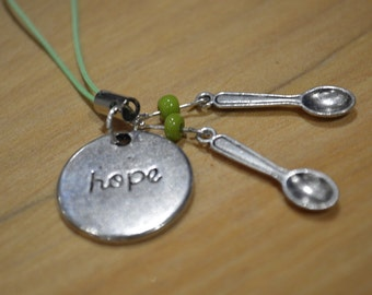 Lyme disease hope and spoons awareness charm - white or green string