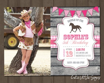 Cowgirl Country Horse Birthday Invitation Digital Download