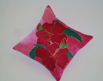 Unique hand painted Hibiskus decorative pillow/cushion
