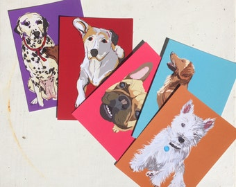 Dog cards - handmade illustrations of pets