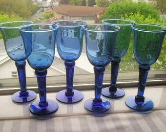 Vintage Wine Glasses|Blue Wine Glasses|Set of 6|Home and Living|Dining and Entertaining|Glassware