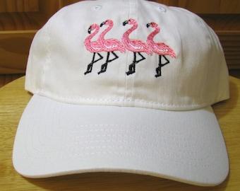 Four Flamingos On a Baseball Cap, Flamingo Pink Flamingos Embroidered on a White Baseball Cap.  Happy Flamingos on a Baseball Cap