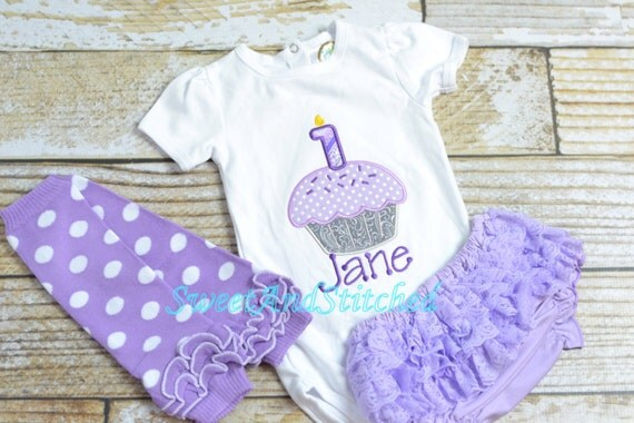 Purple Cupcake 1st birthday Outfit or Shirt cake smash outfit - Lavender and Gray (other colors available) - cupcake birthday shirt!