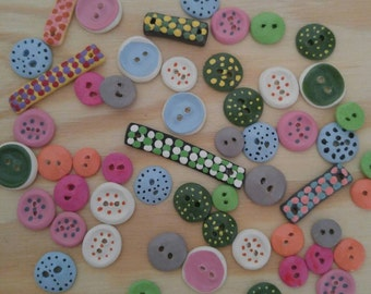 Assorted Painted Polymer Clay Buttons
