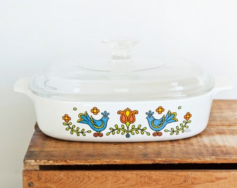 Vintage Corning Ware Country Festival 1.4 Liter Casserole with Lid, 8x8 Inch Bird Print Baking Dish, A-8-B