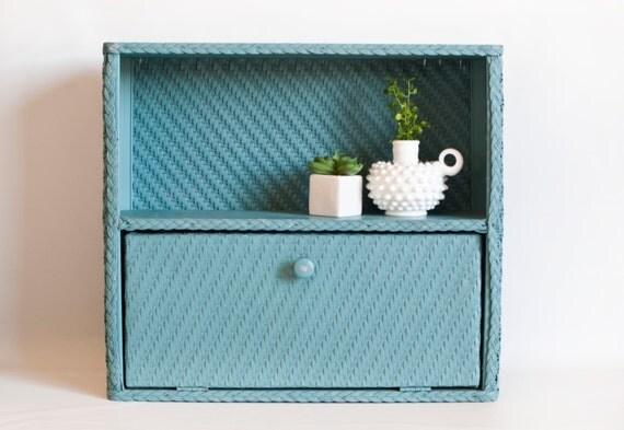 Vintage Blue Wicker Bathroom Cabinet Wall Mount Storage