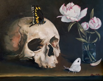 Dark Memento Mori with Human Skull, Black and White Butterflies, and Peonies- Original Macabre Still Life Oil Painting- Floral Art