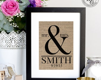 Personalized Wedding Gift for Couple / Ampersand Sign / Wedding Gifts / Gift for Bride / Wedding Gift Last Name Established / Mr & Mrs
