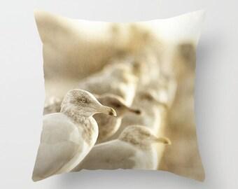 Sea Gull Photo Throw Pillow Cover, home decor, photo pillow, coastal decor, beach, ocean, tan, taupe, white, birds