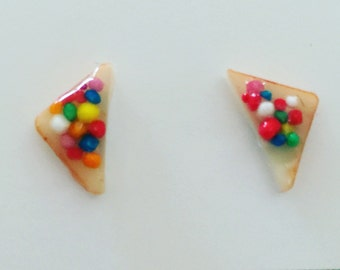 Fairy Bread (with crusts) Stud Earrings, Miniature Food Studs, Fairy Bread earrings / Jewelry - Kawaii Kitsch Earrings - Original Sprinkles