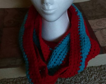 Infinity scarf cherry red scarf turqua scarf