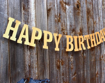 Happy Birthday Banner, Gold Glitter Banner, 1st Birthday Party Decor, Happy Birthday Sign, Party Banner, Custom Banner, Birthday Photo Prop