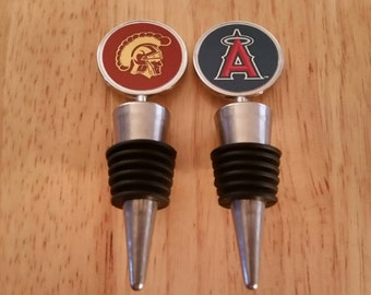 Wine Stopper USC Trojans Los Angeles Angels Bottle Topper Liquor Bottles Bar Booze Cork Gifts University of Southern California Personalized