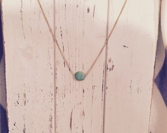 Gold necklace with 12mm czech bead