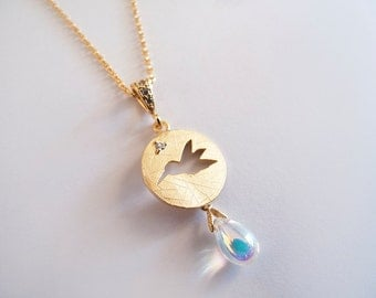 Gold Bird with Glass Drop Necklace - Gift for Her