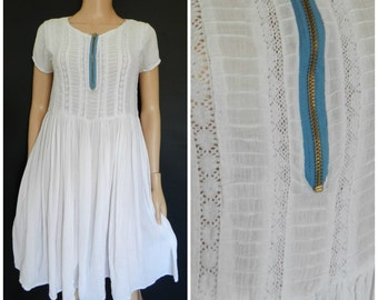 Vintage 1970's 80's festival hippie gauze indie cheesecloth dress UK12 M