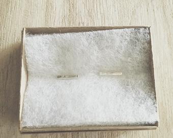 Shimmer Bar Studs, Sterling Silver