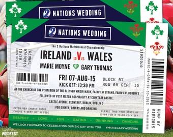 Rugby Ticket Wedding Invites