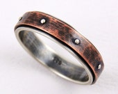 Rustic wedding band for men or woman - 5mm wedding ring,silver copper ring,engagement ring,anniversary ring,mens ring,woman ring