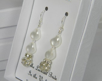 White Swarovski Curved Pearl Wedding Earrings, White Bridal Pearl Earrings, Wedding Earrings, Sterling Silver Wedding Jewelry SP1