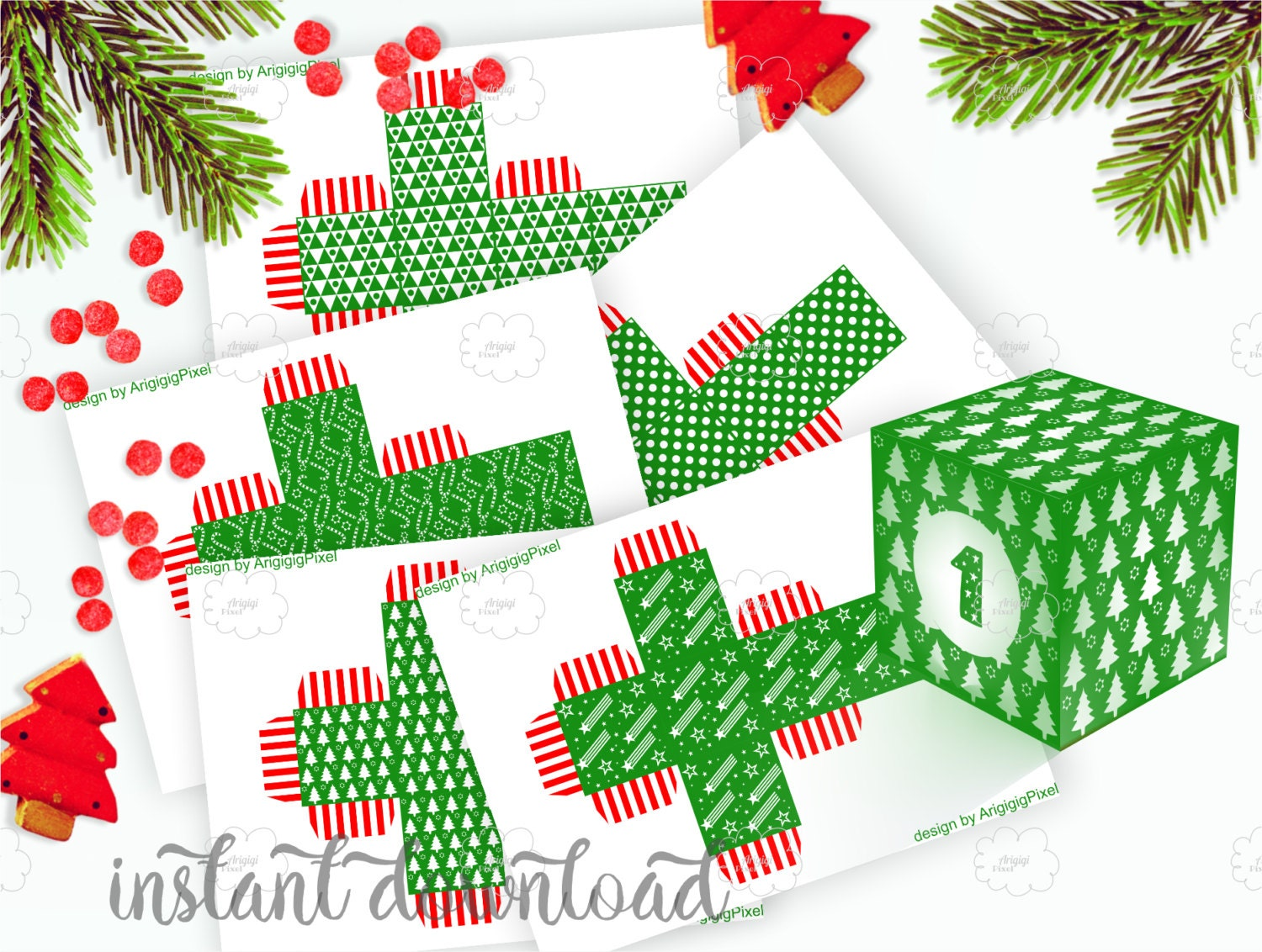 Green Advent Calendar Boxes And Number 1-25 DIY Christmas