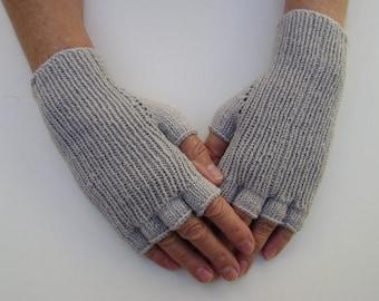 Half-Finger Gloves in Light Grey.Hand Warmers. Mittens. Snug-fitting Gloves. Hand-Knit.