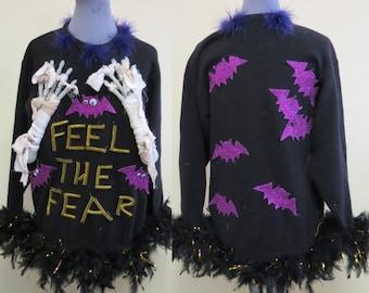 Halloween Skeleton Hand Sweater Mummy Hands Costume Black Feather Glam M Halloween Costume Witchy Women Halloween Sweater Purple bats Gothic