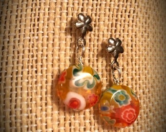 Yellow and Orange Floral Glass Disc Earrings for Kids Children Kids Orange Yellow Flower Earrings Flower Earrings for Children