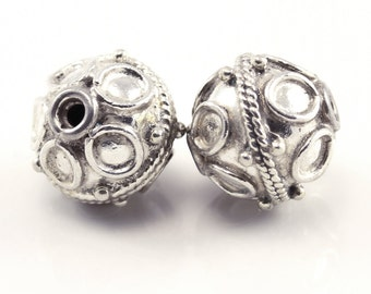2 (two)  10 mm x 9 mm Bali Sterling Silver 925 beads, handmade in Bali, Indonesia