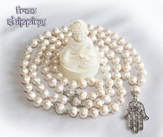 Japa Mala Hand Knotted 108 Gemstone Pearls 7-8mm Beads Prayer Yoga Necklace for Meditation and Mantra - Free Shipping