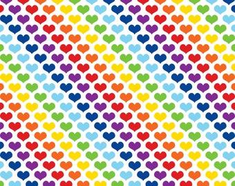 Rainbow hearts on cotton lycra jersey knit fabric - UK seller