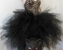 Black Cat Mask Costume Tulle Skirt, Cat Mask, Victoria's Secret Leopard Corset 32B