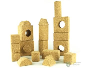 Cork Building Blocks Kids Eco Natural Organic Wood Soft Light