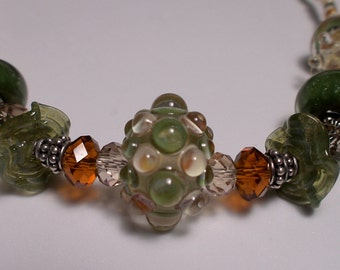 Olive Green and Topaz Handmade Lampwork Beads Necklace
