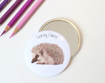 Looking Sharp Hedgehog Pocket Mirror Gift For Her