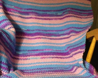 Sweater stripe afghan- blue/purples