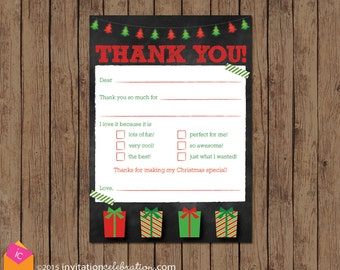 Christmas Kids Thank You Card - Printable - Fillable - Fill in Blanks - Check box - DIY - Chalkboard - INSTANT DOWNLOAD