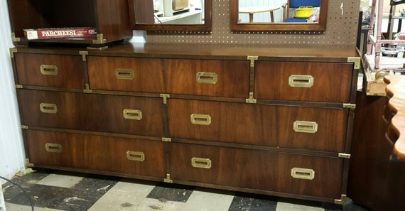 Lane Vintage Campaign Military Dresser Buffet Mid Century